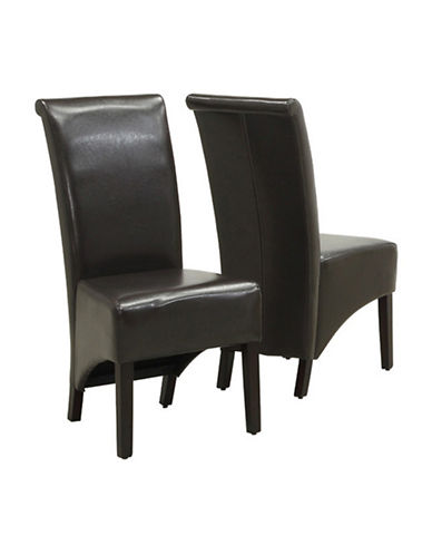 Monarch Set of Two Parson Chairs-DARK BROWN-One Size