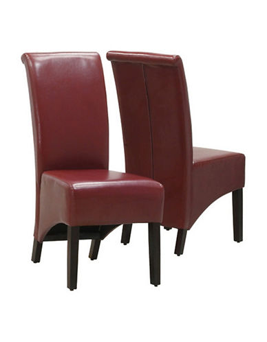 Monarch Set of Two Parson Chairs-BURGUNDY-One Size
