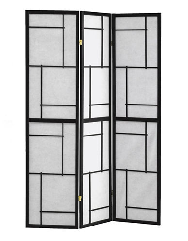 Monarch Three-Panel Geometric Folding Panel-BLACK-One Size