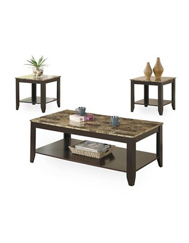 Monarch Three-Piece Marble-Look Coffee and End Tables Set-CAPPUCCINO-One Size