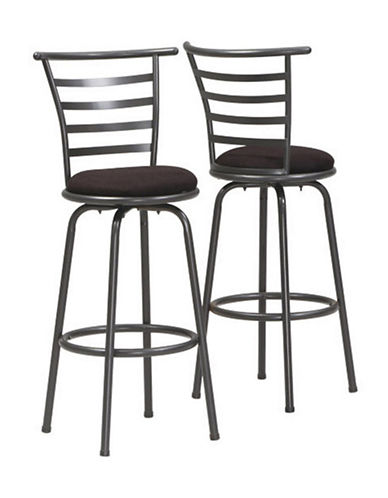 Monarch Set of Two Ladder-Back Swivel Barstools-SILVER-One Size