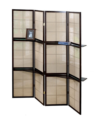Monarch Four-Panel Checker Folding Screen-BROWN-One Size