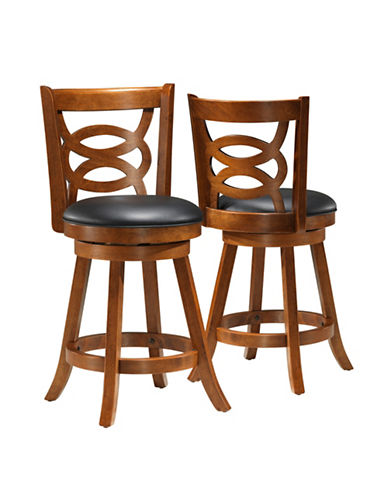 Monarch Two-Piece Interlock-Back Counter-Height Stools-BROWN-One Size