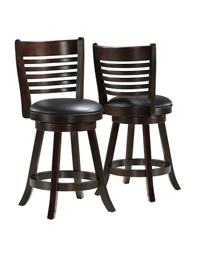Monarch Two-Piece Slat-Back Counter-Height Stools-CAPPUCCINO-One Size
