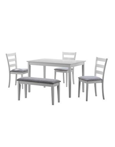 Marques salle à manger ensemble de table à dîner cinq pièces en chenille avec banquette la baie dhudson