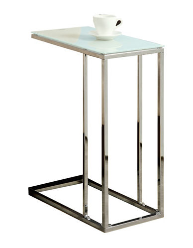 Monarch Frosted Glass Accent Table-CHROME-One Size