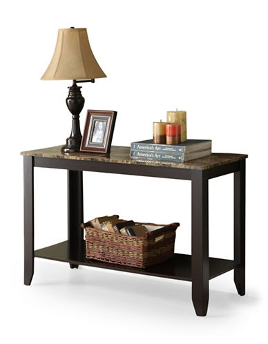Monarch Rectangular Marble-Look Console Table-BROWN-One Size