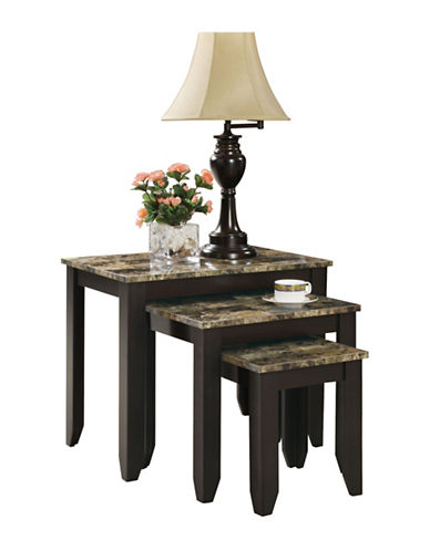 Monarch Marble-Look Nesting Table Set-BROWN-One Size