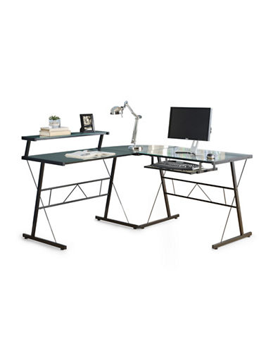 Monarch Three-Piece L-Shaped Glass Desk Set-BLACK-One Size