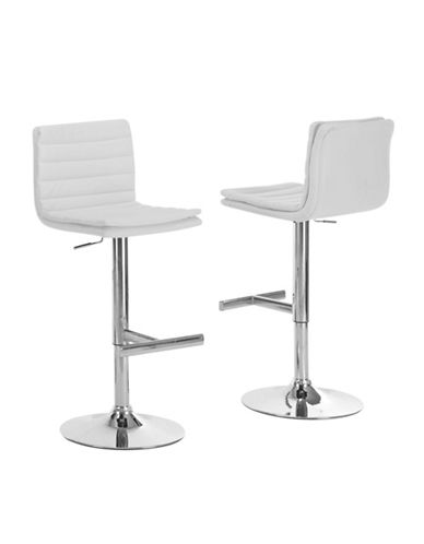 Monarch Straight Line White Cushioned Barstool Set-WHITE-One Size
