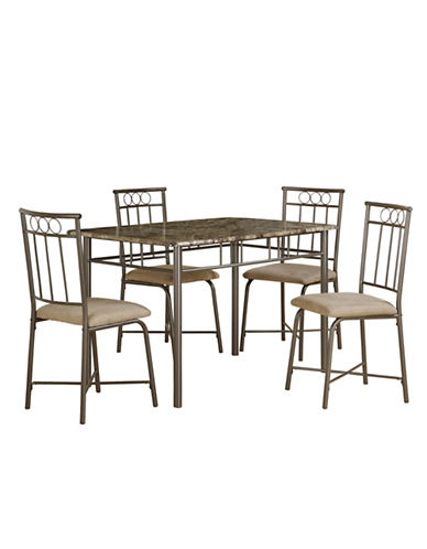 Monarch Five-Piece Cappuccino Marble and Bronze Metal Dining Set-CAPPUCCINO-One Size