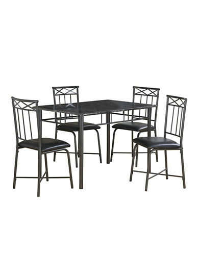 Monarch Five-Piece Faux Leather Dining Set-CHARCOAL-One Size