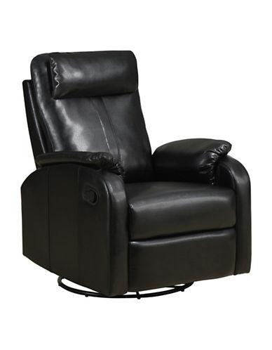 Monarch Bonded Leather Swivel Rocker Recliner Chair-BLACK-One Size