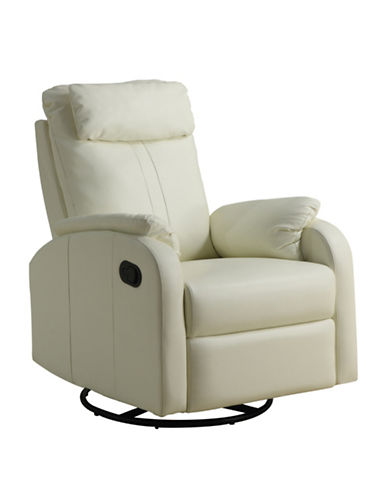 Monarch Bonded Leather Swivel Rocker Recliner Chair-IVORY-One Size