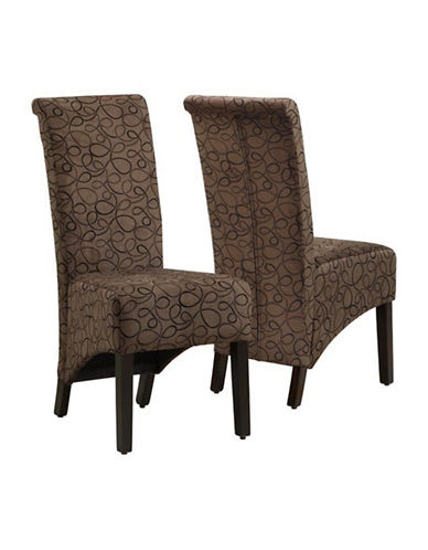 Monarch Set of Two Swirl Dining Chairs-BROWN-One Size