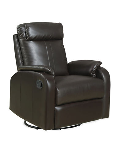 Monarch Bonded Leather Swivel Rocker Recliner Chair-BROWN-One Size
