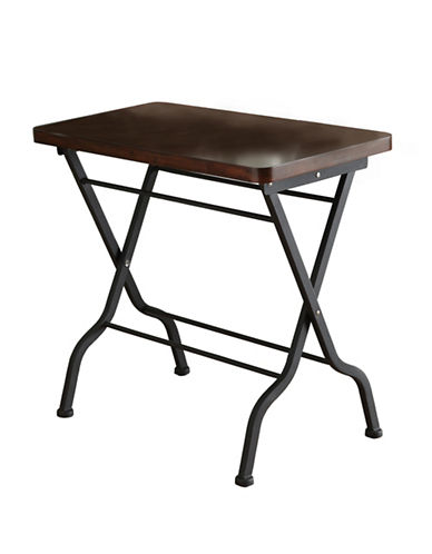 Monarch Metal Folding Accent Table-BROWN/BLACK-One Size