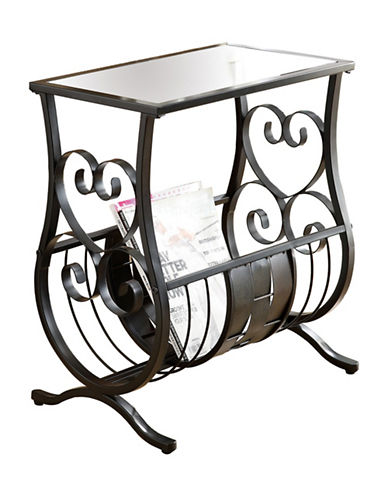 Monarch Traditional Glass Metal Accent Table-BLACK-One Size