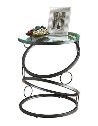 Monarch Glass Top Circle Bass Accent Table-BLACK-One Size