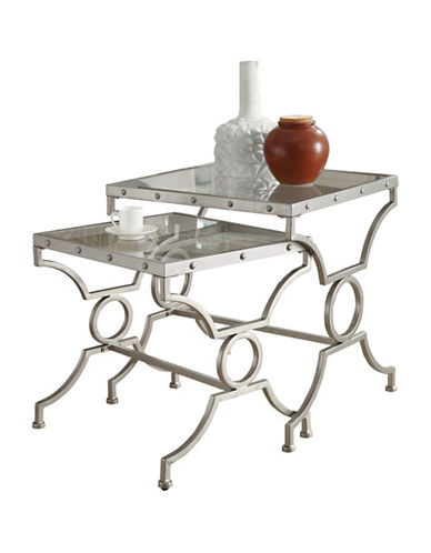 Monarch Glass Stud Nesting Tables Set of Two-SILVER-One Size