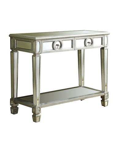 Monarch Brushed Mirror Console Table-SILVER-One Size