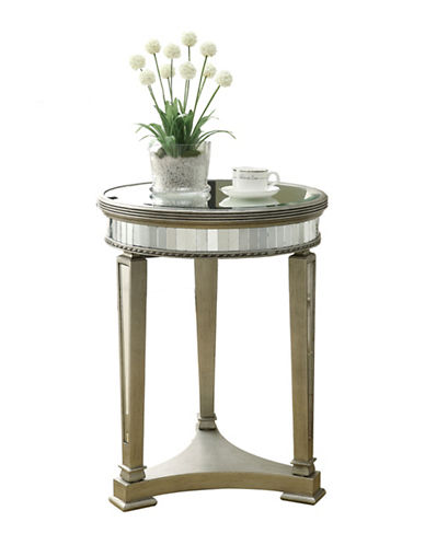 Monarch Brushed Round Mirror Accent Table-SILVER-One Size