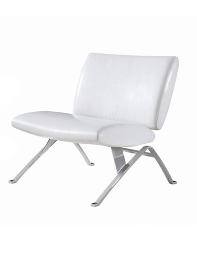 Monarch Leather-Look Chrome Metal Accent Chair-WHITE-One Size