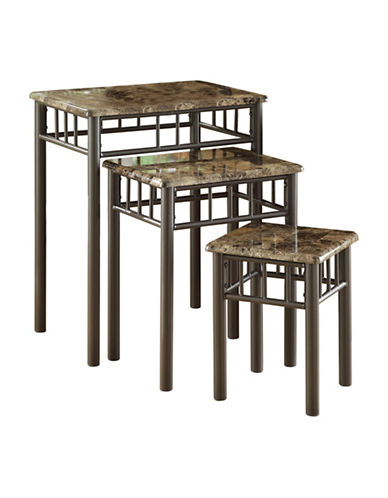Monarch Three-Piece Marble-Look Nesting Table Set-CAPPUCCINO-One Size