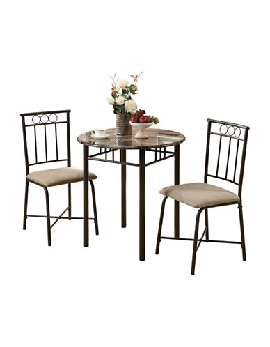 Monarch Three-Piece Marble-Look Dining Set-CAPPUCCINO-One Size