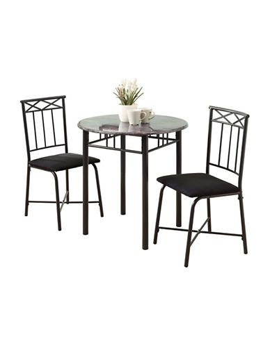 Monarch Three-Piece Marble-Look Dining Set-GREY-One Size