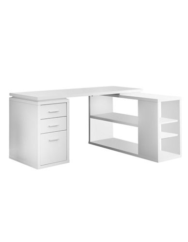 Monarch Corner Facing Computer Desk-WHITE-One Size