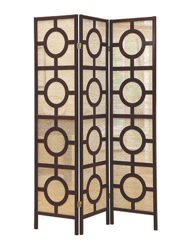 Monarch Three-Panel Circle Folding Screen-CAPPUCCINO-One Size