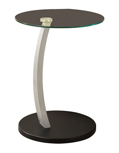 Monarch Frosted Glass Accent Table-BLACK-One Size