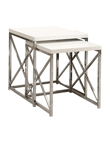 Monarch Two-Piece Crossbar Nesting Table Set-WHITE-One Size