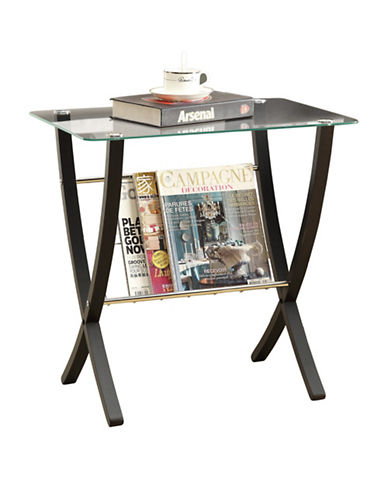 Monarch Tempered Glass Bentwood Accent Table-CAPPUCCINO-One Size