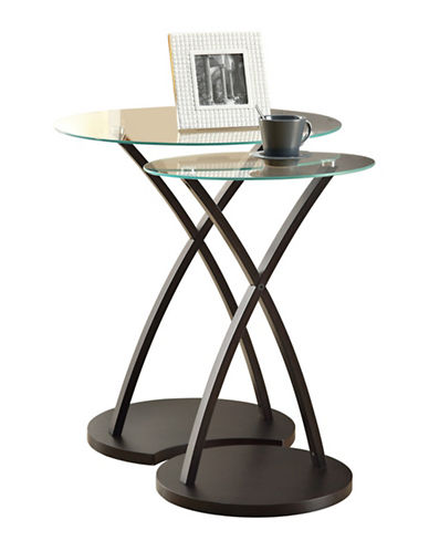 Monarch Two-Piece Circular Nesting Table Set-BROWN-One Size