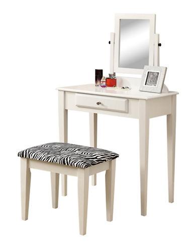 Monarch Two-Piece Zebra Stool Vanity Set-WHITE-One Size