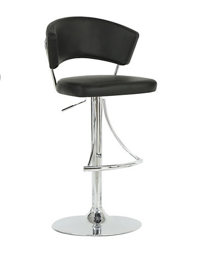 Monarch Black Leather-Look Barstool-BLACK-One Size