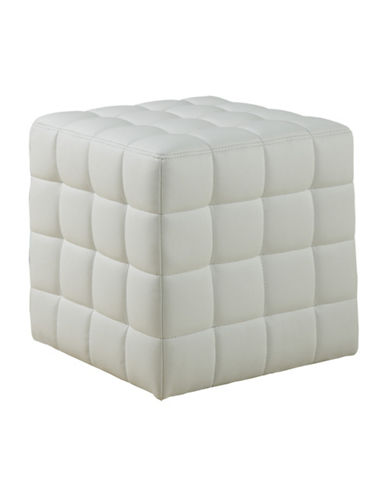 Monarch Leather-Look Quilted Ottoman-WHITE-One Size