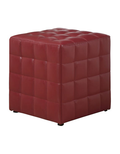 Monarch Leather-Look Quilted Ottoman-RED-One Size
