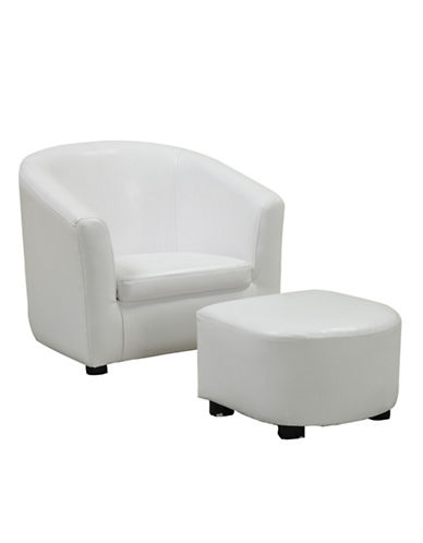 Monarch Leather-Look Juvenile Chair and Ottoman-WHITE-One Size