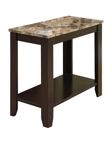 Monarch Marble-Look Accent Table with Shelf-BROWN-One Size