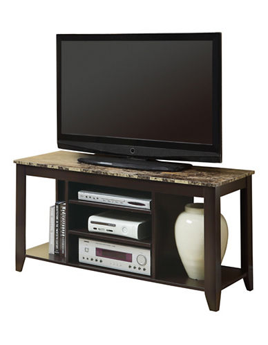 Monarch 48-Inch Marble-Look TV Stand-CAPPUCCINO-One Size