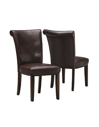 Monarch Set of Two High-Back Dining Chairs-DARK BROWN-One Size