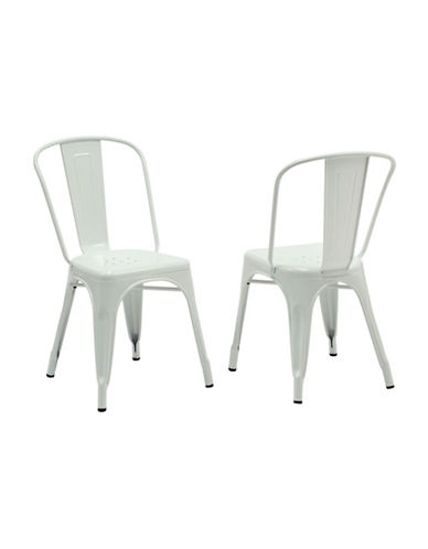 Monarch Set of Two Coated Steel Dining Chairs-WHITE-One Size