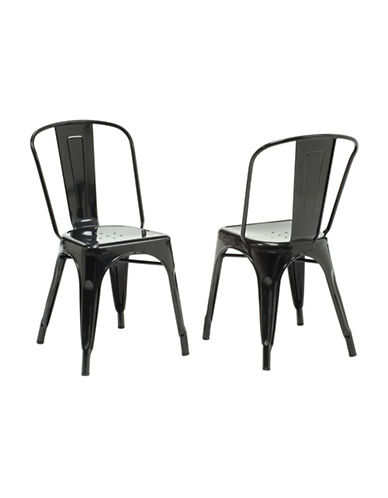 Monarch Set of Two Coated Steel Dining Chairs-BLACK-One Size