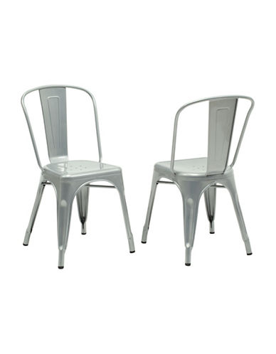 Monarch Set of Two Coated Steel Dining Chairs-SILVER-One Size