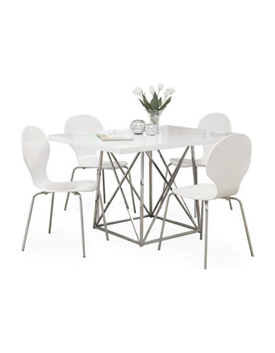 Monarch Glossy White Dining Table-WHITE-One Size