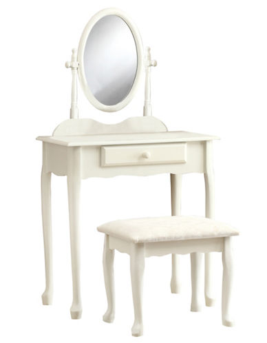 Monarch Two-Piece Antique-Look Vanity Set-WHITE-One Size