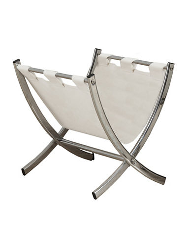 Monarch Black Leather-Look Magazine Rack-WHITE-One Size